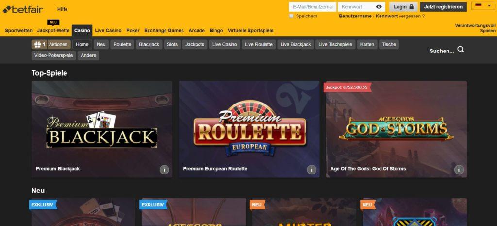 Betfair Casino Vorschau