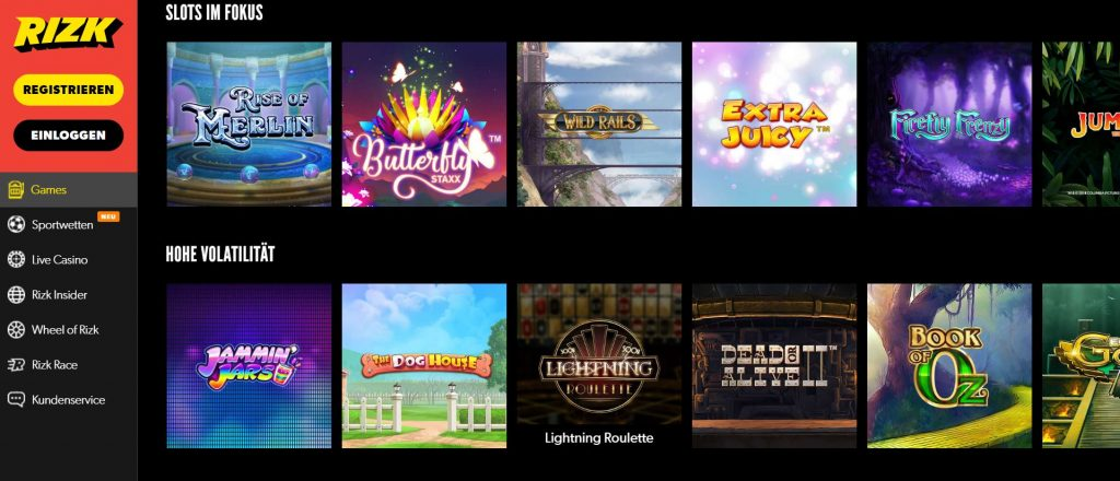 Rizk Casino Spiele